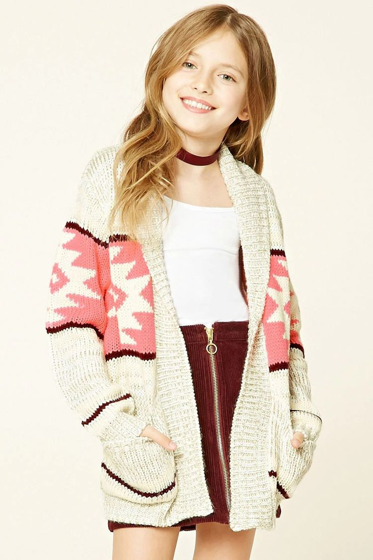 Forever 21 Girls - A marled knit cardigan featuring an allover geo pattern, an open-front, and two patch pockets.