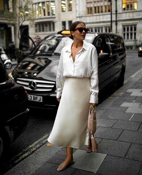 Silk slip skirt midi Cream silk satin skirt Silk slip bias cut ivory skirt White slip skirt Silk clo 1