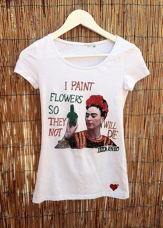 Frida Kahlo Tee Frida's  Portrait Painted 3d on T-shirt