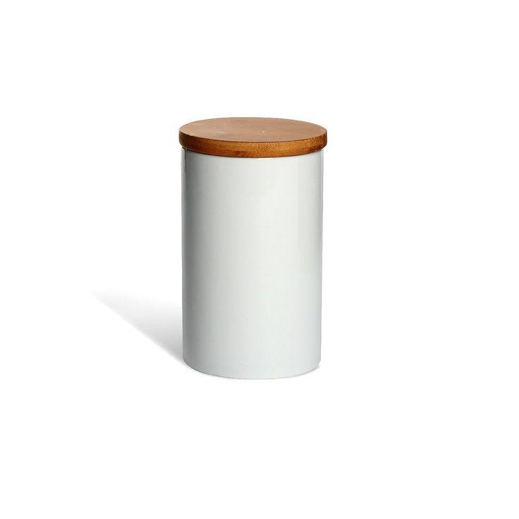 Vorratsdose mit Holzdeckel, weiß ca 740 mlVorratsdose mit Holzdeckel, weiß ca 740 ml