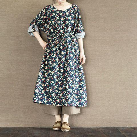 Flower Open Dress Cotton Linen Causel Coat Women Clothes