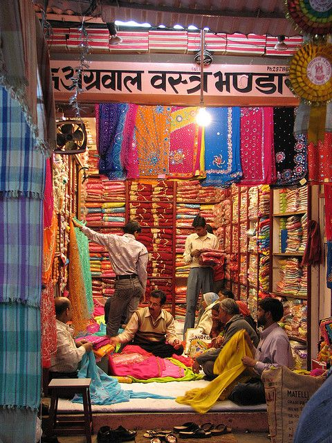 Sari Shop, Jaipur by studiokumar on Flickr.