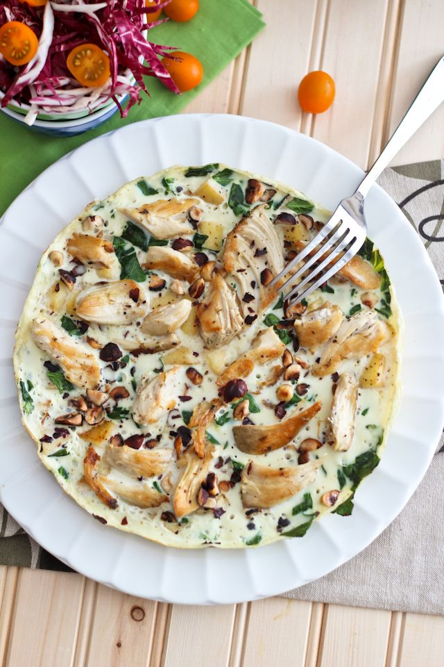 Apple  Egg White Omelet | by Sonia! The Healthy Foodie-take out the chicken and hazelnuts. I love all of her recipes.