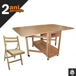 Setul are un design elegant atragator si foarte practic. Acesta este compus dintr-o masa plianta Util pentru 10 persoane si 6 scaune pliante.