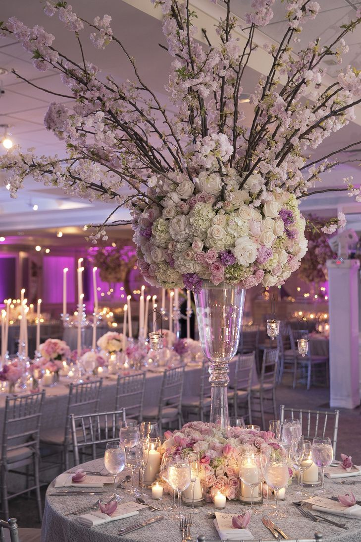 Tall Vase Centrepiece With Long Cherry Blossom Branches
