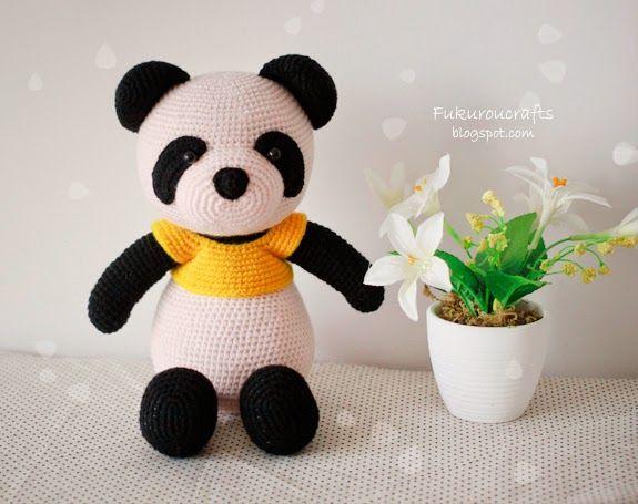 fukuroucrafts: Cute Crochet Pattern Panda Bear Doll, Cute Amiguru...