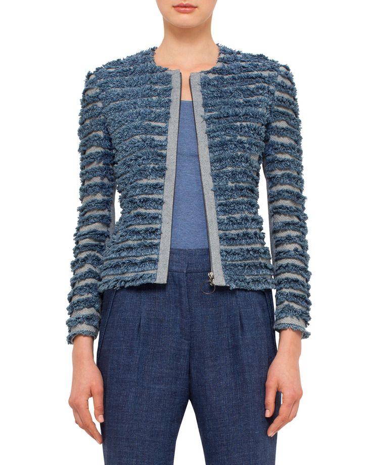 Denim-Fringe Zip-Front Jacket, Bleached Denim, Women's, Size: 16, Bleched Denim - Akris punto