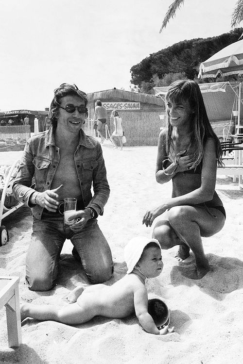 Serge Gainsbourg and Jane Birkin with daughter Charlotte Gainsbourg at the beach, 1972.