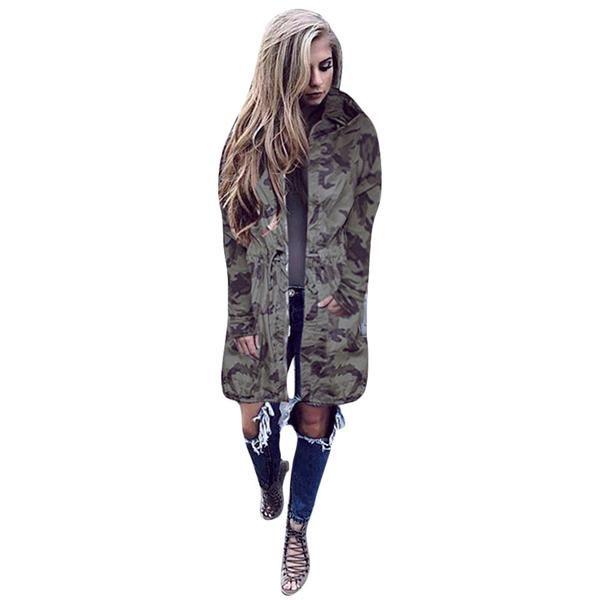 Camo Print Long Jacket | Windbreaker jacket women, Casual