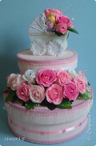 Торт из памперсов для маленькой принцессы   Страна Мастеров