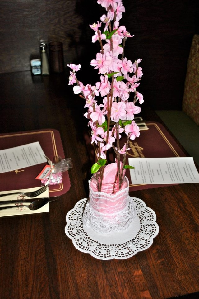 Cherry Blossoms Flower Petals And Mason Jars From Dollar Tree And Lace Perfect Wedding Shower