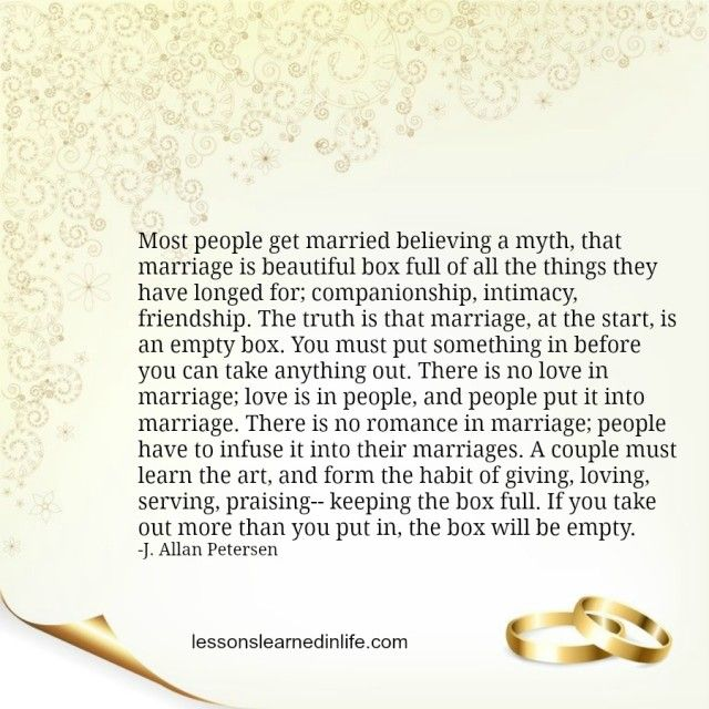 Lessons Learned in Life | The marriage box.
