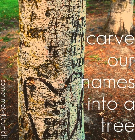 carve our names into a tree.