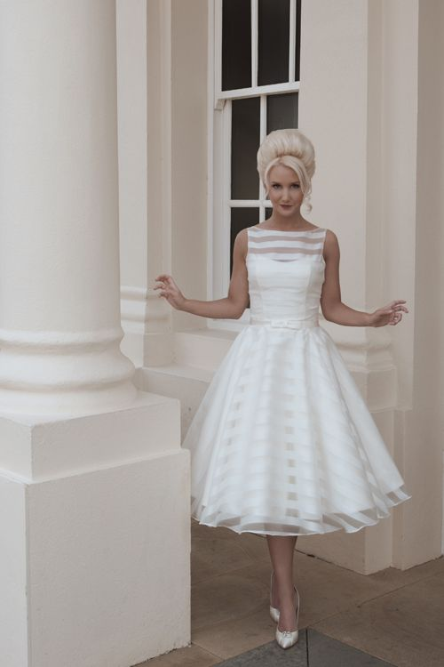 Mooshki Holly Tea Length Full Circle Skirt Of Satin And Organza Striped Sleeveless Wedding Dress