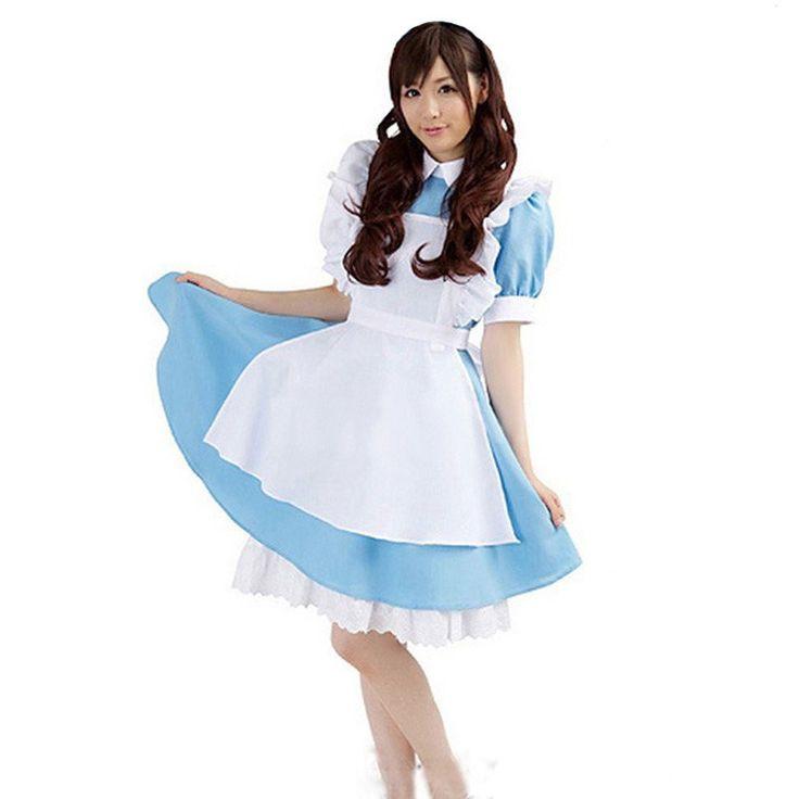 Sexy Maid Costume Alice in Wonderland Anime Cosplay Costume Suit Sweet Gothic Lolita Dress Women Girls Halloween Play Costumes