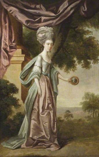Sophia Anne Delaval (1755–1793), Mrs Jadis, Holding a Claude Glass to the Landscape by Edward Alcock (attributed to) ~ collection of the British National Trust (Seaton Sluice, Northumberland)