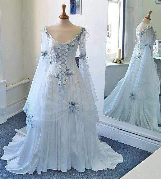 Celtic Wedding Dresses White Pale Blue Medieval Bridal Gowns Corset Bell Sleeve In Clothing Shoes Accessories Formal Occasion