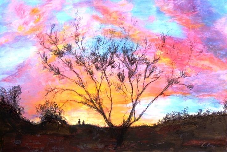 This artwork represents an Australian desert landscape sunset.  www.transfercar.com.au