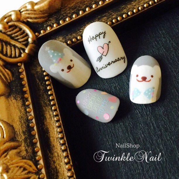 Allマットくまたん(  ˊᵕˋ )♡.°⑅ #TwinkleNail#トゥインクルネイル#ネイル#ネイルチップ#デザイン#アート#ハンドメイド#オーダーメイド#オリジナル#マット#艶なし#誕生日#くま#Nail#Nailtip#Design#Art#handmaid#ordermaid#original#Japan#birthday