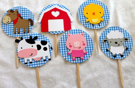 Farm Party Cupcake Toppers Set of 12 by PrettyPaperPaige on Etsy