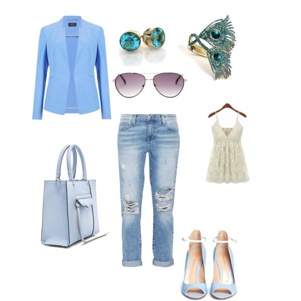 Shades of the ocean by gaylynn-wulff on Polyvore featuring polyvore, fashion, style, Current/Elliott, Gianvito Rossi, Rebecca Minkoff and BCBGMAXAZRIA