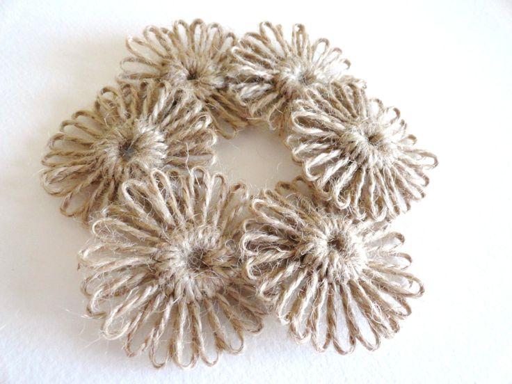 Handmade Rustic Jute Burlap Twine 2.25inch Flowers