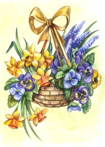 Basket of flowers, some of which are pansies