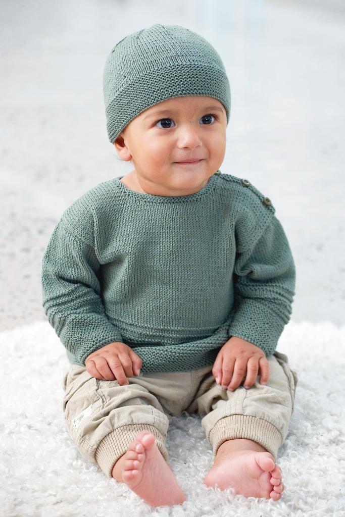 Sticka en gullig tröja med matchande mössa i mjukt bomullsgarn till babyn. Här får du beskrivningen.