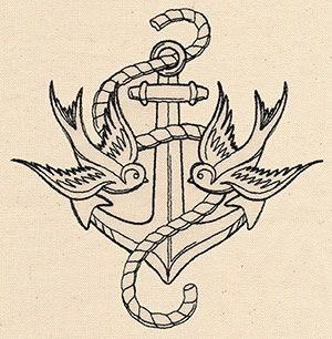 Thread Tattoos - Anchor and Swallows | Urban Threads: Unique and Awesome Embroidery Designs