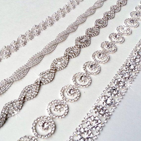 Ultra Glam Rhinestone Bridal Belt Sash or Headband - Custom Ribbon White Ivory Silver - Crystal - Wedding Dress Belt - Extra Long. $52.00, via Etsy.