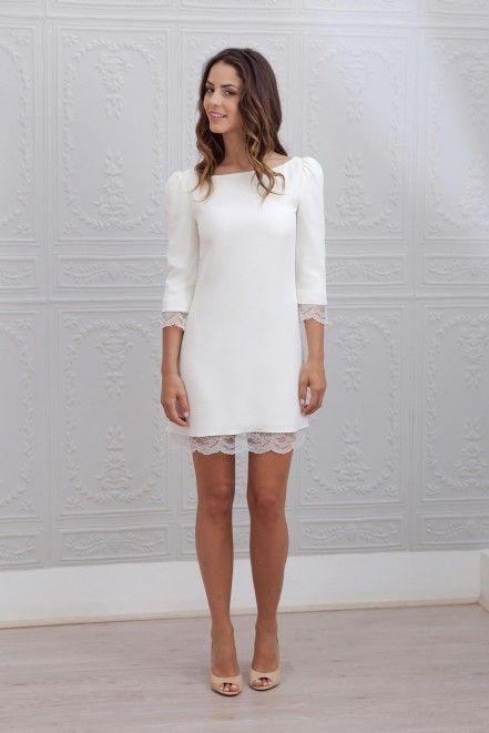 Свадебное платье короткое трапеция