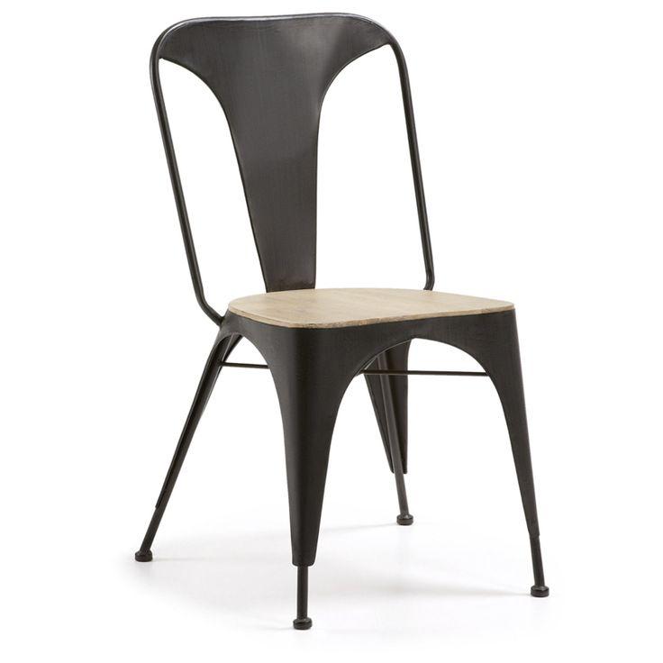 Silla con asiento de madera · Chair with seating wood Theon 98x52x62 Silla de estilo industrial. Diseño tipo Tolix. #ArmonySpaceBCN