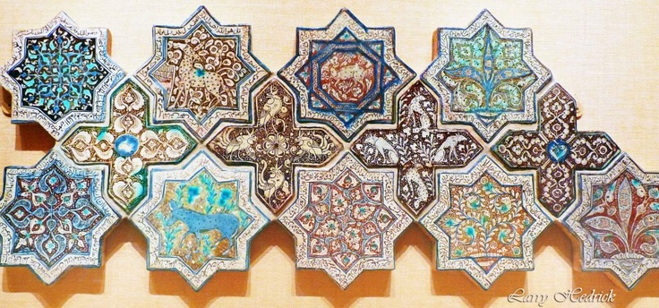 A Large Iranian Wall Decoration Composed Of Ceramic Tiles