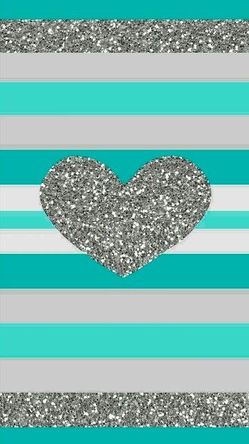Teal glitter heart