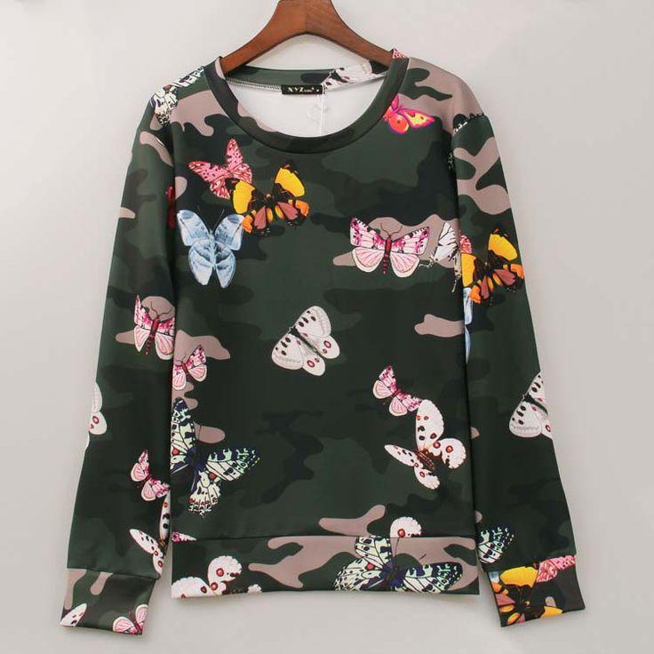 2016 fashion brand sweatshirt women camouflage&butterfly printed hoodies winter casual sweatshirts tracksuits women tops Sakura