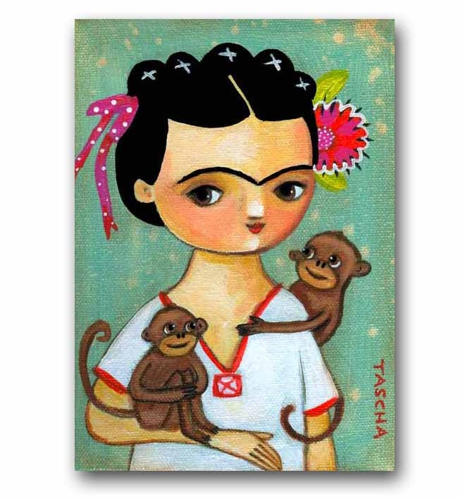 ORIGINAL acrylic painting on canvas FRIDA Kahlo with MONKEYS folk art kawaii by tascha