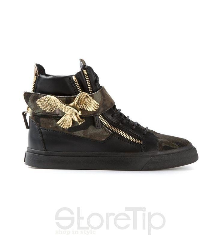 Giuseppe Zanotti Design Eagle Motif Hi-Top Sneakers - StoreTip