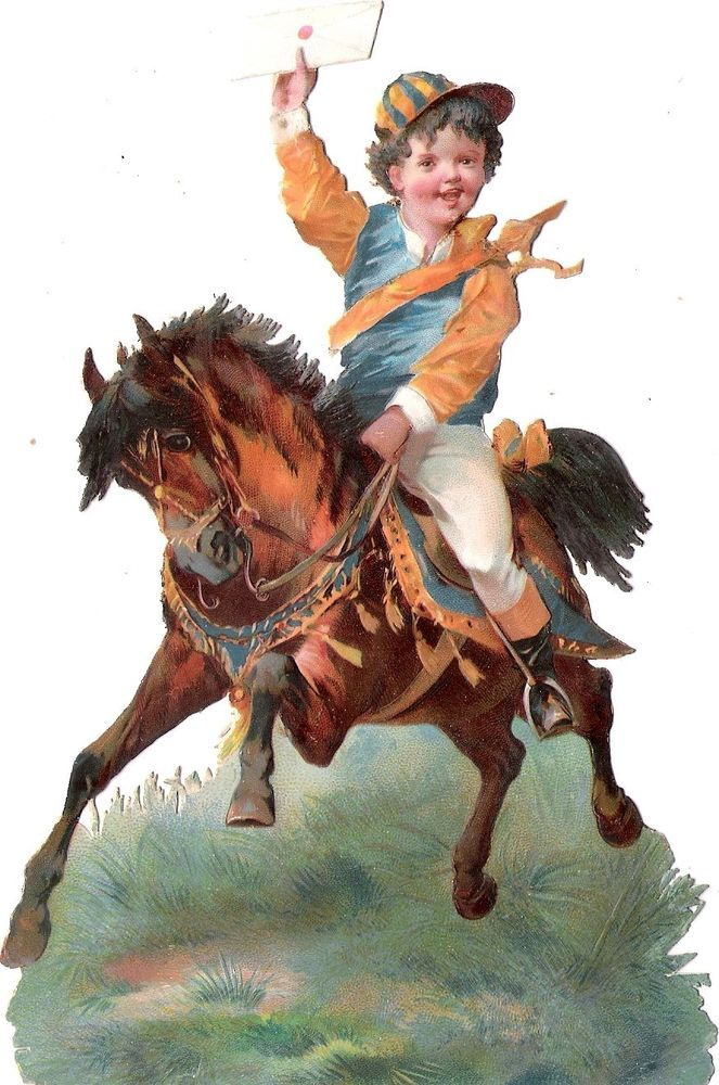 Oblaten Glanzbild scrap die cut chromo Kind child 17cm  Pferd horse cheval Brief