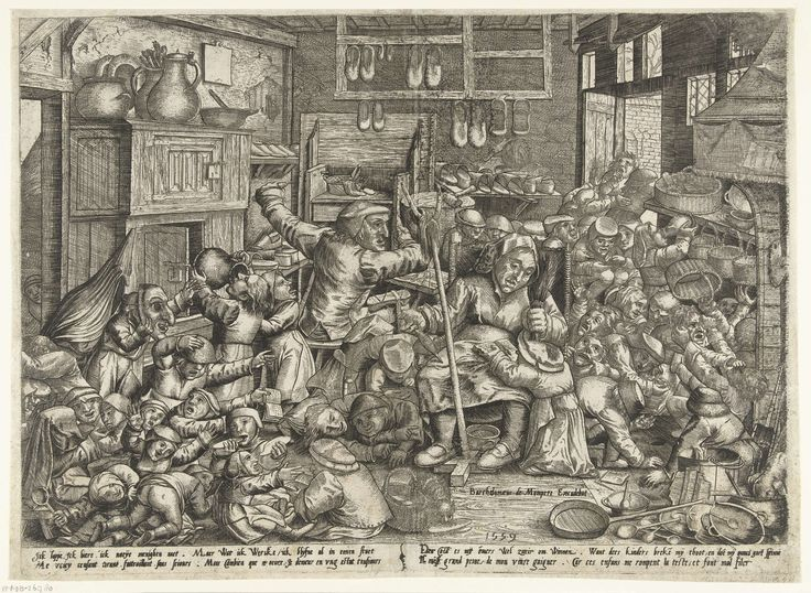 De schoenmaker en de spinster als schoolmeesters, Pieter van der Borcht (I), Bartholomaus de Momper (I), 1559