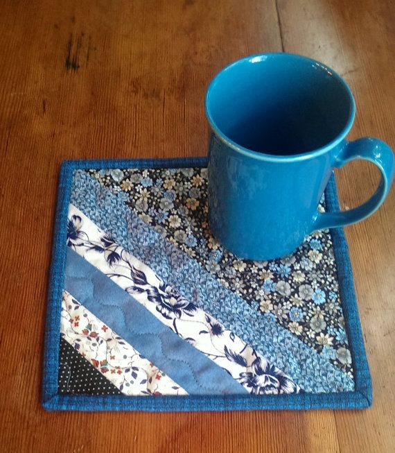 Quilted Mug Rug Drink Mat. Blue and white. by QuiltsByMargie