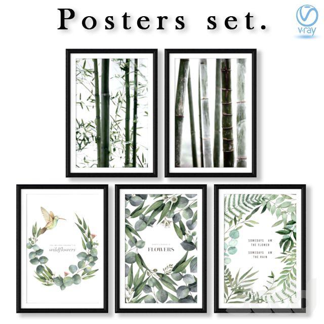 Серия постеров с листьями, цветами, и ветками бамбука ...