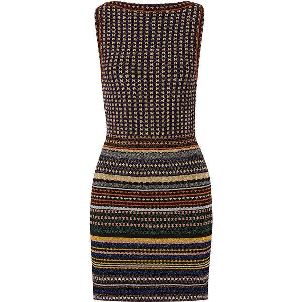 Missoni Striped metallic crochet-knit mini dress ($1,350) ❤ liked on Polyvore featuring dresses, stripe dresses, crochet mini dress, print dress, navy blue short dress and metallic dress