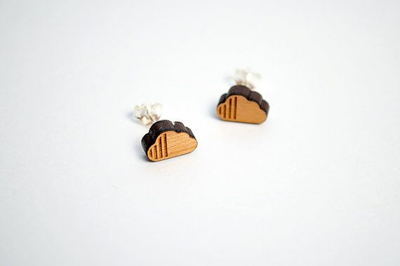 Wooden Earrings Stud  Minimal Earring  Clouds by Strickzeit