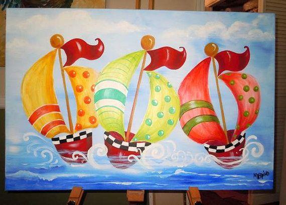 Voiliers-marin lunatique pépinière thème-fun et heureux très gros bébé original de peinture murale art