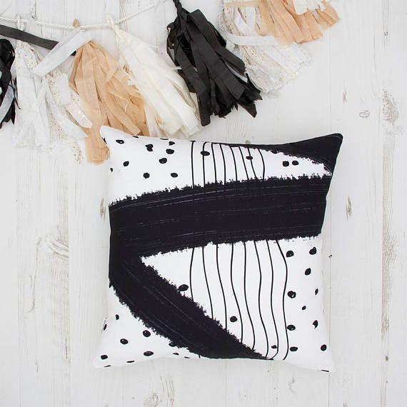 Minimalist cushion pillow shams black white home decor.