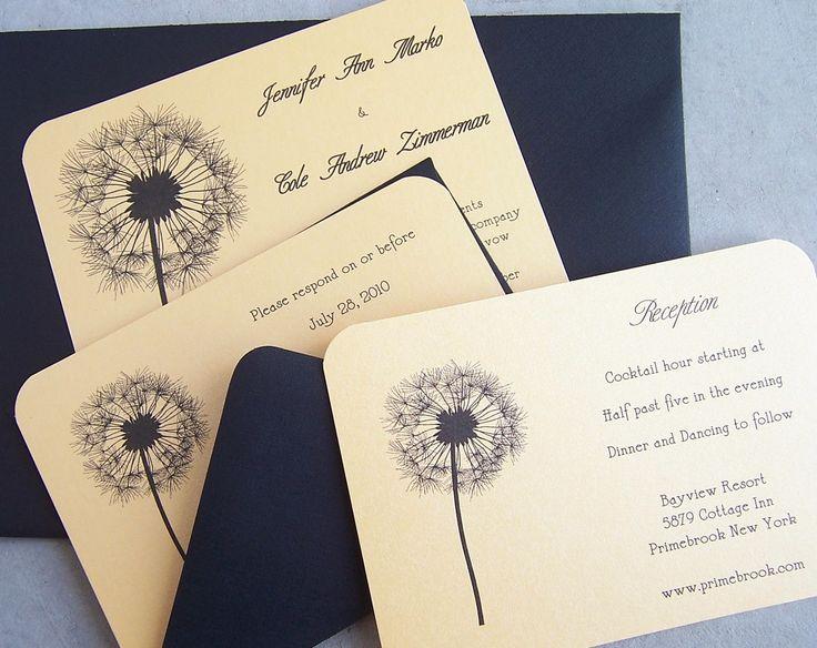 dandelion wedding invitation purple silver yellow black gold
