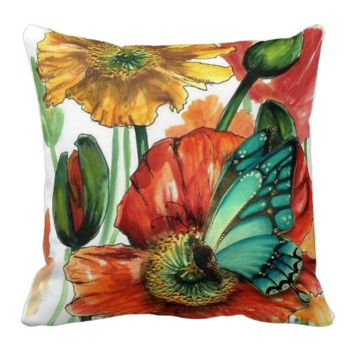 Blue #Butterfly on #Poppy #Pillows