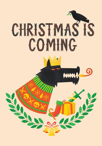 christmas, xmas, santa, father christmas, wolf, dire wolf, game of thrones, stark, raven, gifts, presents, sword, jumper, sweater, crown, holly, bells, christmas card, fun, cool, awesome, wharton, print, art, illustration, howl,   http://chriswharton.com  http://designbywharton.tumblr.com  http://society6.com/Wharton https://www.facebook.com/wharton.design