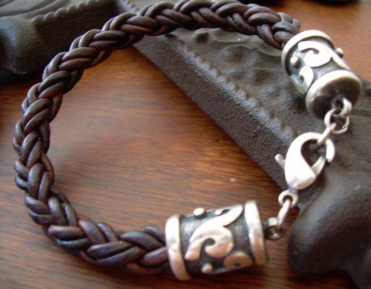 This masculine, braided leather bracelet is made with Rhodium clasps to make it …   – men's cool clothing