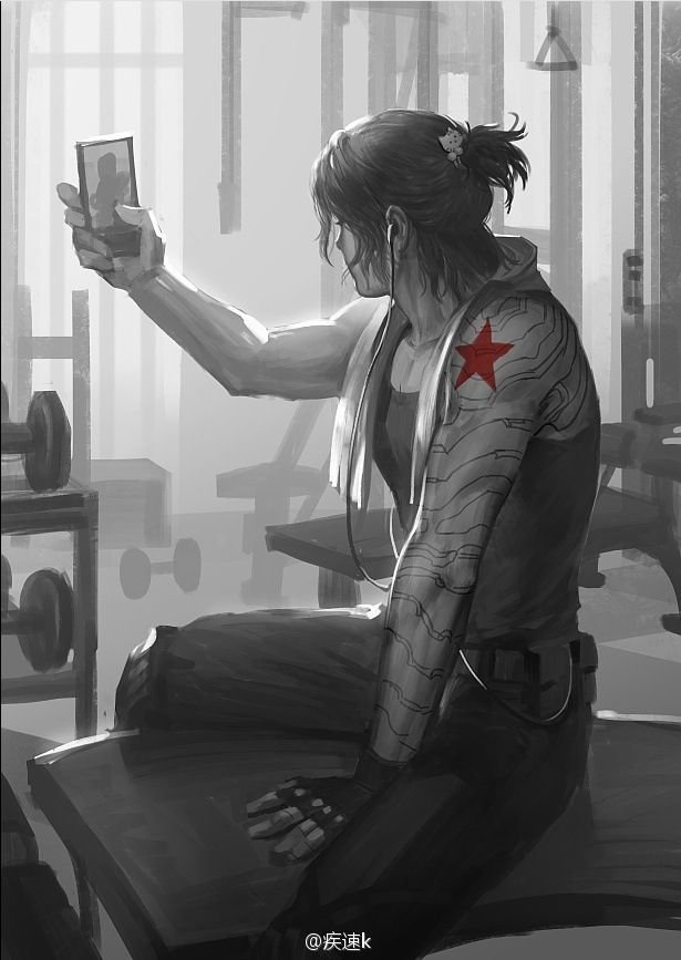 Selfie - The Winter Soldier. I wonder how long it took the Avengers to teach him this.....